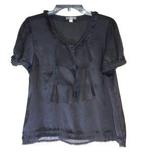 Sheer black shortsleeved blouse apt. 9 top size XL